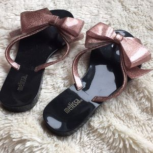 Melissa sparkle copper bow slippers